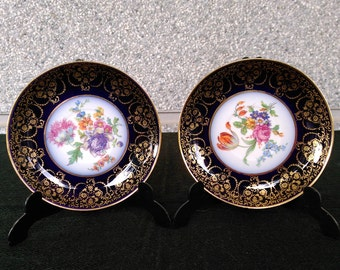 Pair of decorative plates of Limoges porcelain /Pareja de platos decorativos de porcelana Limoges
