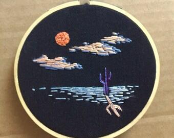 Desert sunset embroidery
