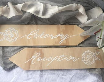 Wood and Calligraphy Wedding Direction Sign- Ceremony & Reception