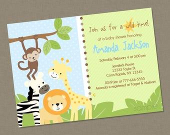Sweet Safari Baby Shower Invitation