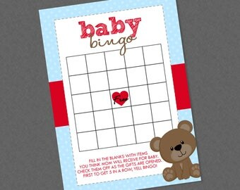 Sweet Teddy Bear Bingo Baby Shower Game - INSTANT DOWNLOAD - Blue & Red