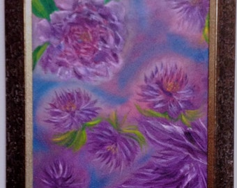 Purple Flowers, Original Oil Painting, Abstract