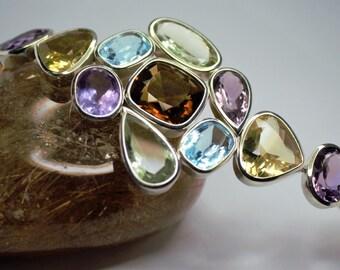 Silver bracelet set of semi precious stones
