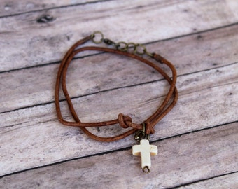 Leather ankle bracelet, anklet cross bracelet, leather bracelet boho hippie jewelry, beach bracelet beach,anklet simple leather anklet