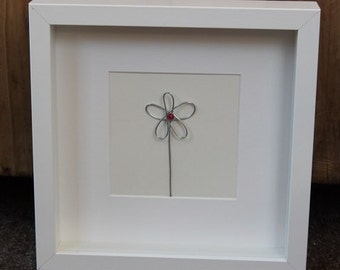 Hand-crafted Wire and Bead Flower Picture/Wall Art