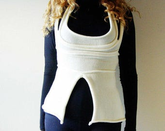 Cream knitted corset-top