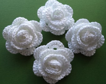 Set of 4 Crochet Roses Weddings/Crafts/Bride/Bridesmaid/Bouquet
