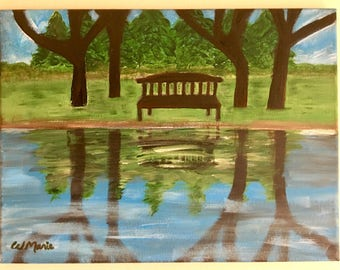 """NEW>> Original acrylic painting on canvas. Landscape art. Peaceful scenery. """"Place of Reflection""""."""