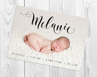 "Birth Announcement, 5x7 Printable, ""Melanie"" Birth Announcement, Arbor Grace Collections"