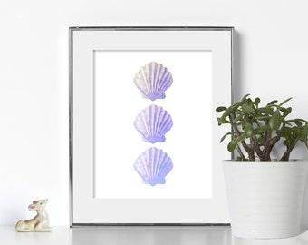 Purple Wall Art Digital Download Seashore Ocean Prints Minimal Art Poster Nautical Print Nautical Wall Art Beach Printable Art Seashell Art