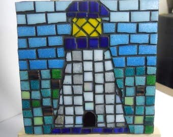 Mosaic wall art mini Lighthouse Glass Mosaic