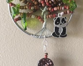 Bamboo tree with Panda Suncatcher