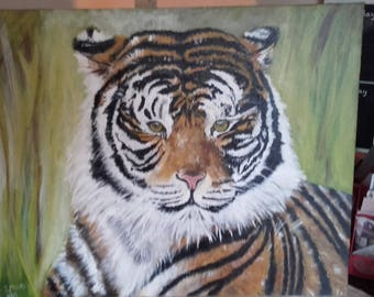 Bengal Tiger original Painting in Acrylic on Canvas 40x50cm