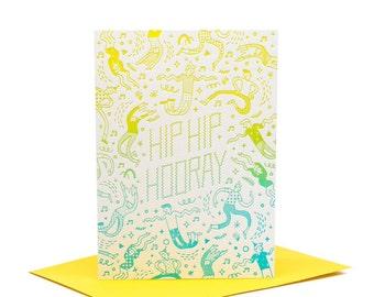 Hip Hip Hooray Celebration - Letterpress Greeting Card
