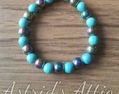 Turquoise and Rainbow Hematite Bracelet