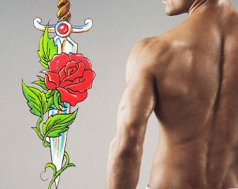 Temporary Tattoo Rose sword - 2x3 inch