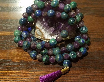 Amethyst and Azurite Mala Necklace