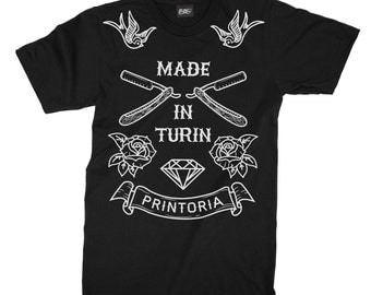 Made in Turin old school tattoo unisex tees, t-shirts, tattoo t-shirts, men's clothing, graphic tees, shirt, fashion,