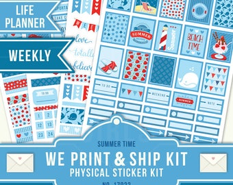July Weekly Kit, Planner Stickers, Summer Planner Stickers, Erin Condren Planner, Weekly Planner, July Sticker Kit, July Weekly Kit, 17022