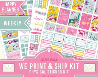 HP Weekly Layout, July Planner Stickers, Floral Planner Stickers, July Weekly Kit, Flower Planner Stickers, Happy Planner, 17045