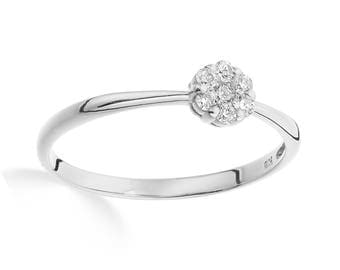White gold diamond ring 0.50 carat look stackable with VS diamonds (0.10ct total)