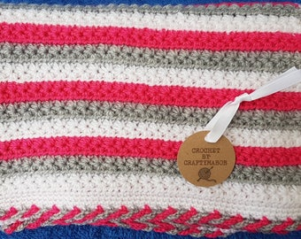 Pink, white and grey baby blanket