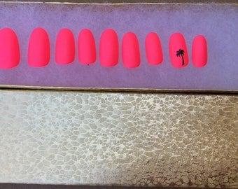 set of 20- Hand painted pink shiny palm tree tropical false nails - glossy press on nails - Fake Nails - false nails-set of 20 any style -