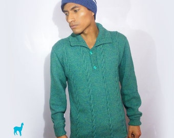 Casual Jade green handmade sweater