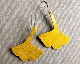 Gingko earrings, botanical jewelry, leaf earrings, leather earrings