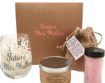 Custom Engagement Gift for the Future Mrs., Custom vinyl wine glass, handmade soap gift set, gift for the future bride, bride to be gift