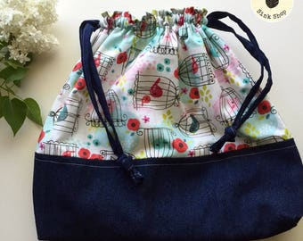 SONGBIRD Drawstring Project Bag   Birds   Pink   Blue   Cotton   Denim   Gift