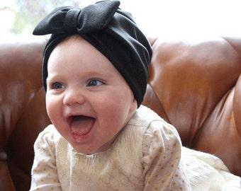 black baby turban, Newborn turban, baby turban hat with bow, baby turban headband, baby bow turban, Bow turban, turban hat