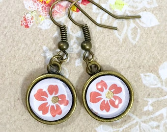 Pink Flower Earrings|Flower Earrings|Boho Chic|Boho Earrings|Spring Earrings|Spring Jewelry|Summer Jewelry|Summer Earrings|Gift for her|BFF