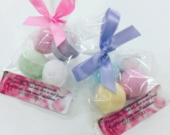 Pack of 4 mini bath bombs, for baby showers. party bags, birthday gift