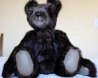 OOAK Mahogany Mink Teddy bear From Re-Purposed Vintage Fur Coat