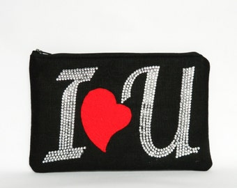 Zipper Clutch, 'I LOVE U' Clutch, Zipper Pouch, Clutch Purse, Ladies Gifts, Rhinestone Clutch, Party Clutch, UK