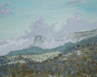 """Mountains of Wyoming // art original oil painting // 12x16"""" on canvas board unframed // by Elliot Roworth"""