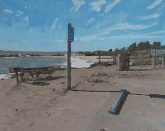 "Beach on Route 1 USA // art original oil painting // 16x20"" oil on canvas unframed // by Elliot Roworth"