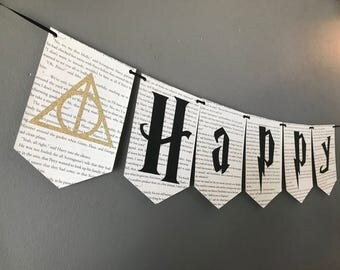 Harry Potter Deathly Hallows Glitter Birthday Banner (Add A Name)