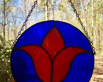 Stained glass tulip panel suncatcher