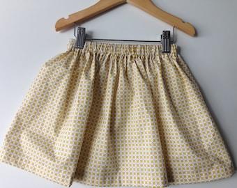 Skirt girl in cotton print Yellow Mills