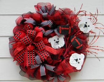 Sports Wreath-UGA Wreath-GA Bulldog Wreath-Red and Black Wreath-Go Dawgs Wreath-Buffalo Plaid Wreath-Georgia Wreath-Front Door Wreath