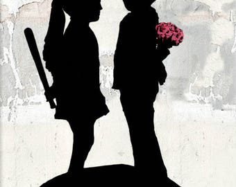 "BANKSY Canvas ""READY to HANG"" Boy meets Girl Street Artwork on Canvas Stretched Gallery Wrap.  -"