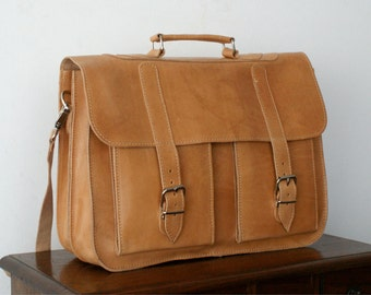 15 inch leather briefcase/ messenger bag/ shoulder bag/ laptop bag/ old school bag/ mens bag/ crossbody bag/ code 50 Natural colour