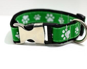 Adjustable Dog Collar S-M Green, White, Paws Handmade in Aus. SALE