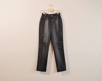 Black Leather Pants, High Waist Pants, Vintage 90s Leather Pants, Tapered Leg Pants, Tapered Leather Pants, Womens Leather Pants Size 4 P