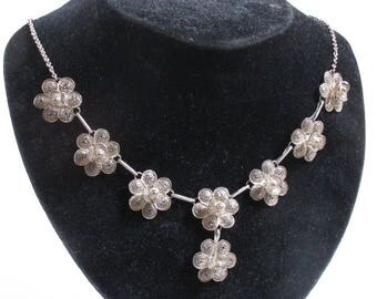 Vintage Silver Flower Filigree Drop Pendant