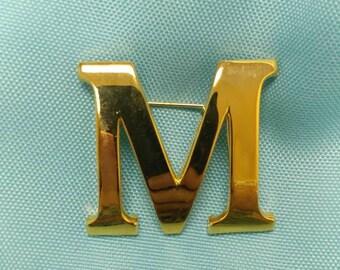 """Monogram Letter """"M"""" Pin"""