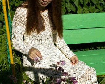 Crochet dress Crocheted dress Knited dress Crochet cotton dress