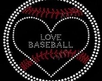 Baseball Love  Rhinestone Iron on Transfer                                                 RKKM